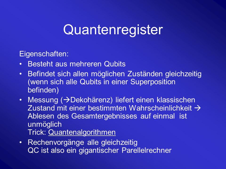 Quantenregister Eigenschaften: Besteht aus mehreren Qubits