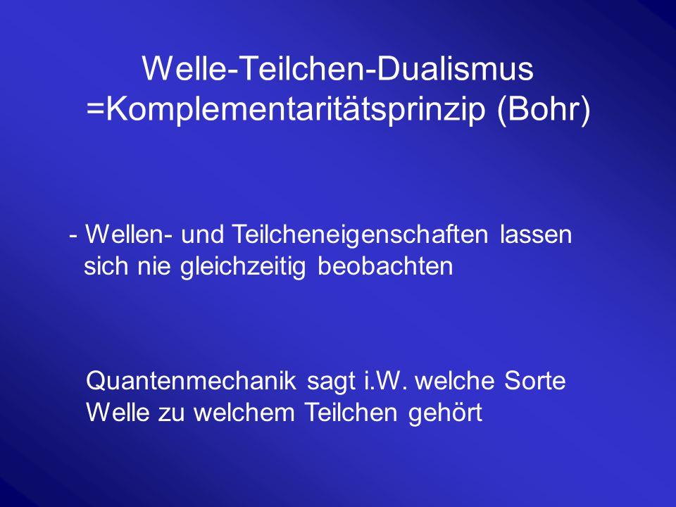 Welle-Teilchen-Dualismus =Komplementaritätsprinzip (Bohr)