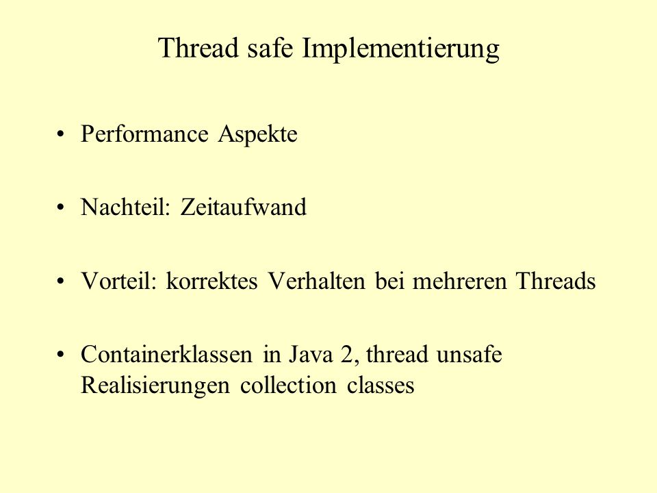 Thread safe Implementierung
