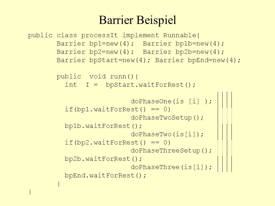 Barrier Beispiel public class processIt implement Runnable{