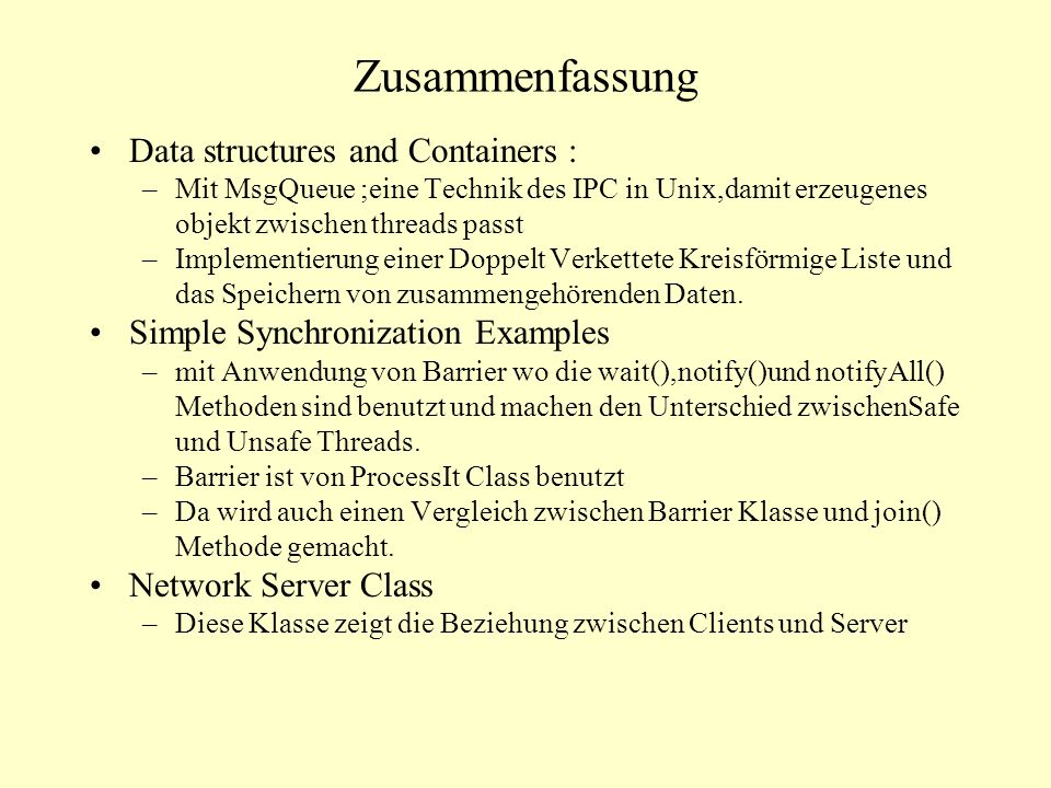 Zusammenfassung Data structures and Containers :