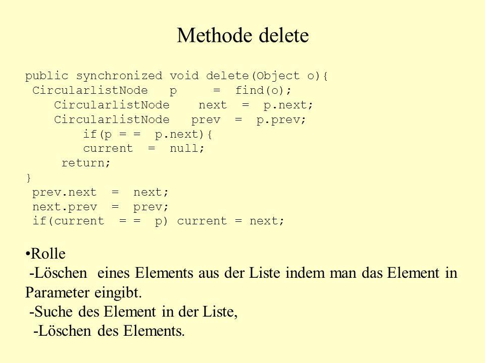 Methode delete public synchronized void delete(Object o){ CircularlistNode p = find(o); CircularlistNode next = p.next;