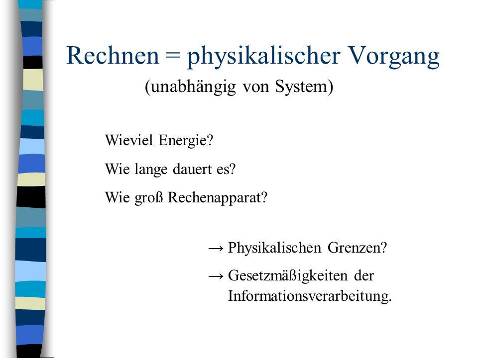 Rechnen = physikalischer Vorgang