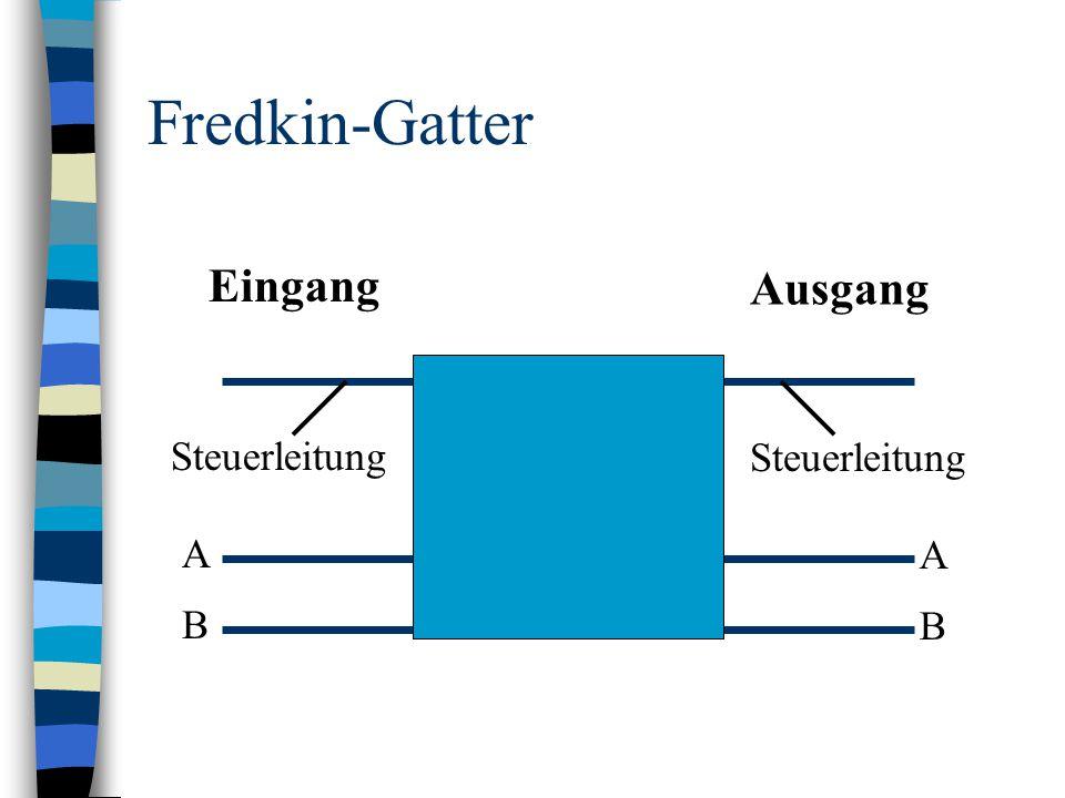 Fredkin-Gatter Eingang Ausgang Steuerleitung Steuerleitung A A B B