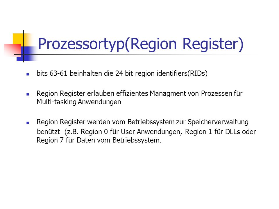 Prozessortyp(Region Register)