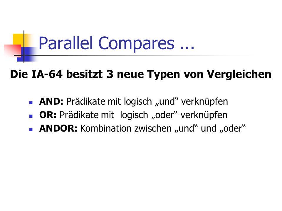 Parallel Compares ... Die IA-64 besitzt 3 neue Typen von Vergleichen