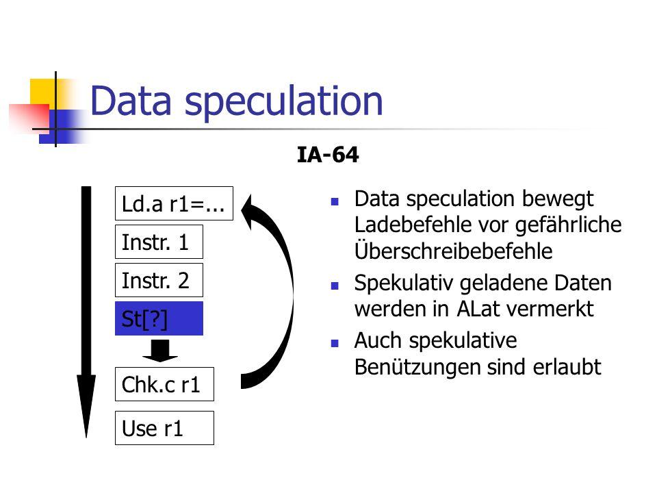 Data speculation IA-64. Data speculation bewegt Ladebefehle vor gefährliche Überschreibebefehle. Spekulativ geladene Daten werden in ALat vermerkt.
