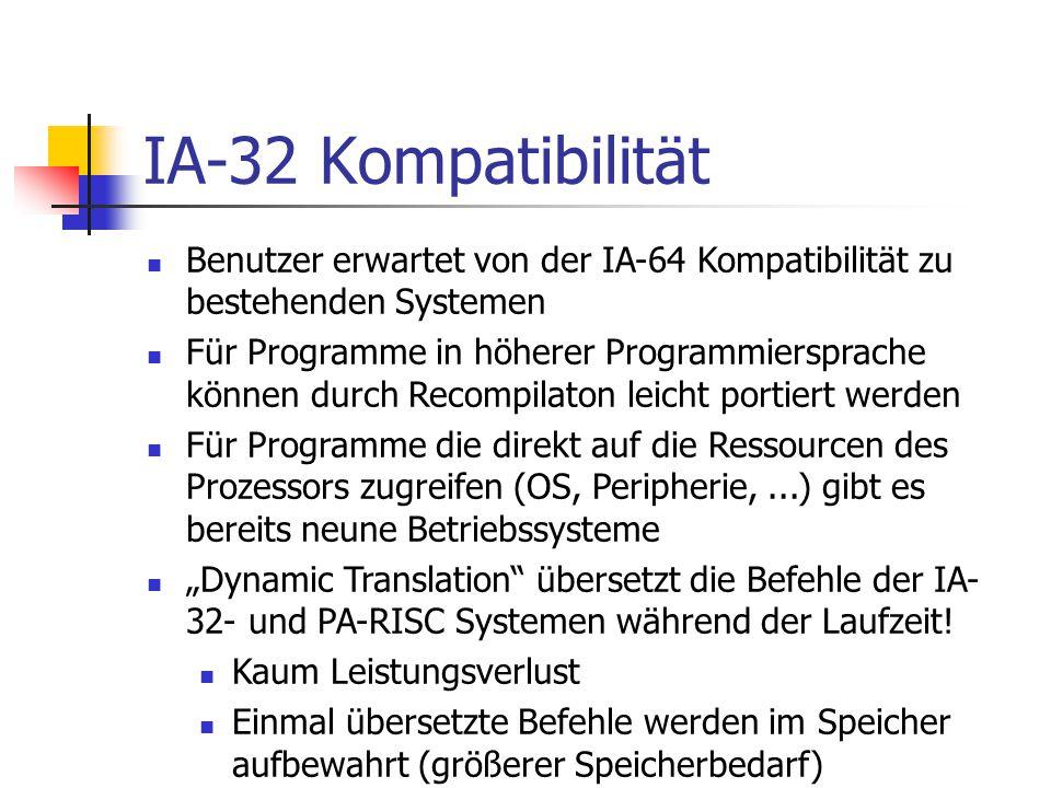 IA-32 Kompatibilität Benutzer erwartet von der IA-64 Kompatibilität zu bestehenden Systemen.