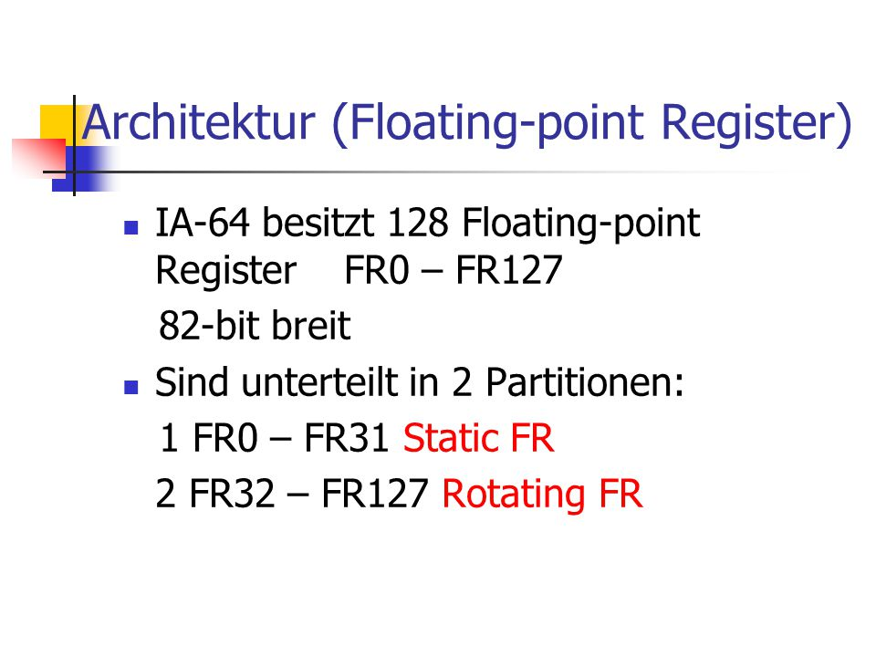 Architektur (Floating-point Register)