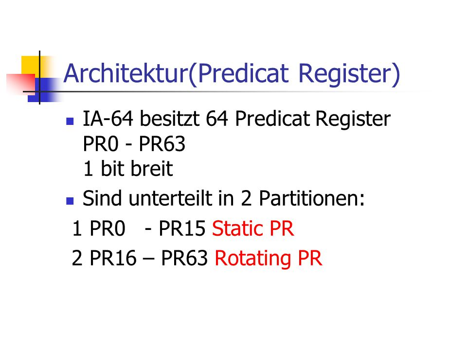 Architektur(Predicat Register)