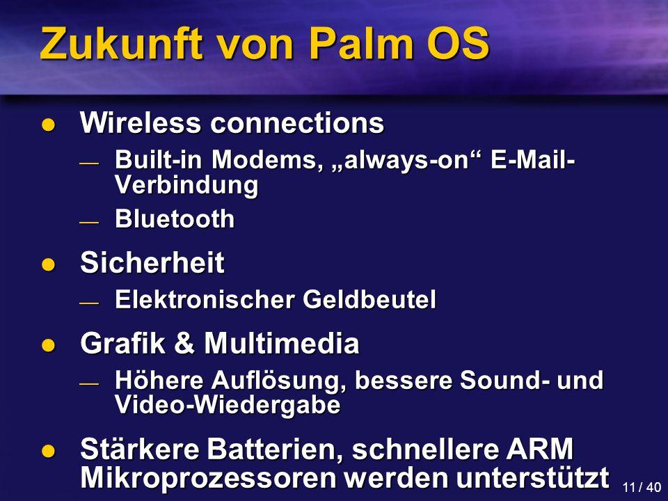 Zukunft von Palm OS Wireless connections Sicherheit