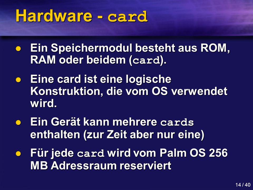 Hardware - card Ein Speichermodul besteht aus ROM, RAM oder beidem (card). Eine card ist eine logische Konstruktion, die vom OS verwendet wird.