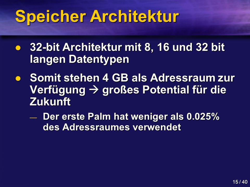 Speicher Architektur 32-bit Architektur mit 8, 16 und 32 bit langen Datentypen.