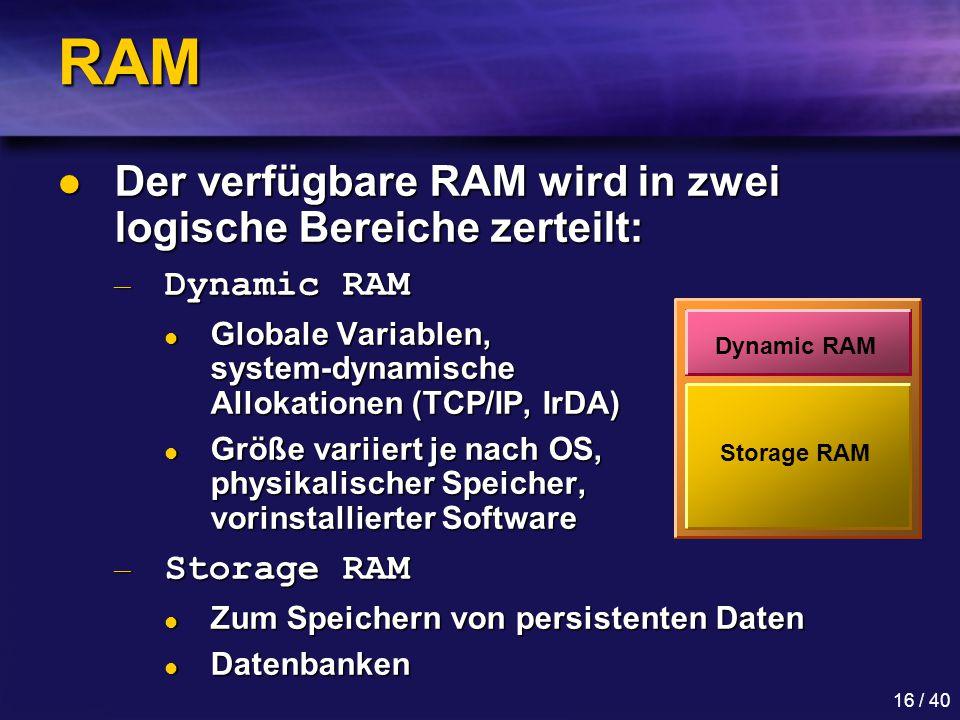 RAM Der verfügbare RAM wird in zwei logische Bereiche zerteilt: