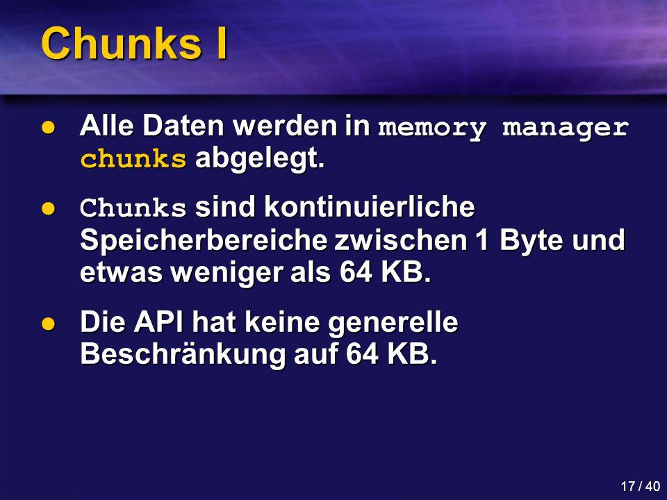 Chunks I Alle Daten werden in memory manager chunks abgelegt.