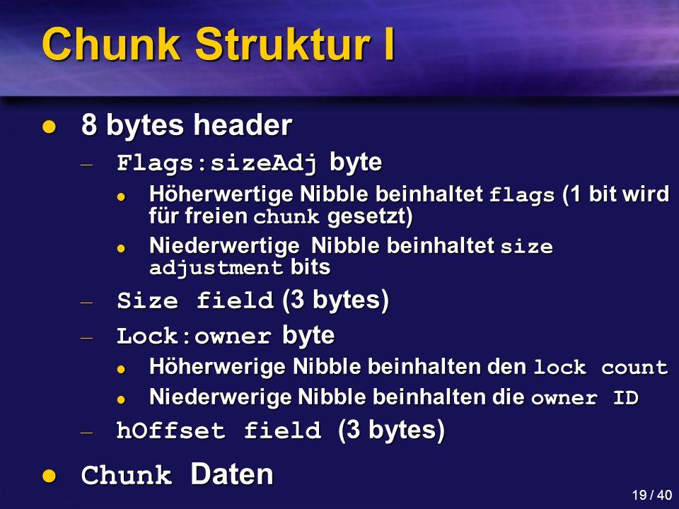 Chunk Struktur I 8 bytes header Chunk Daten Flags:sizeAdj byte