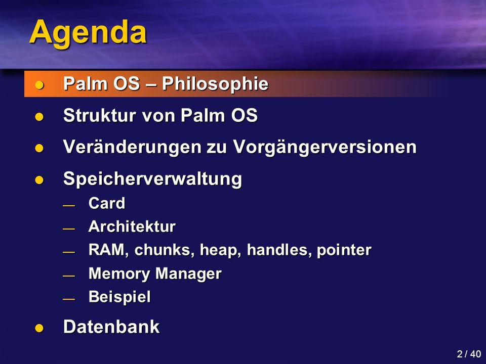 Agenda Palm OS – Philosophie Struktur von Palm OS