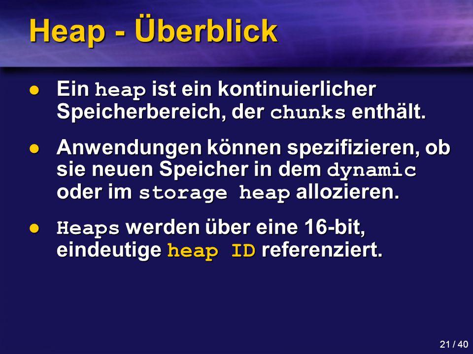 Heap - Überblick Ein heap ist ein kontinuierlicher Speicherbereich, der chunks enthält.