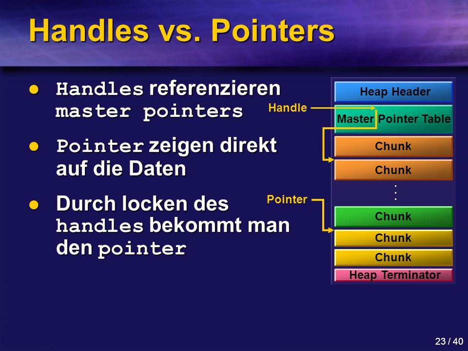 Handles vs. Pointers Handles referenzieren master pointers