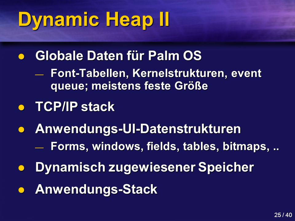 Dynamic Heap II Globale Daten für Palm OS TCP/IP stack