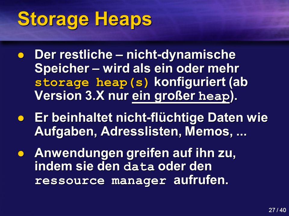 Storage Heaps Der restliche – nicht-dynamische Speicher – wird als ein oder mehr storage heap(s) konfiguriert (ab Version 3.X nur ein großer heap).