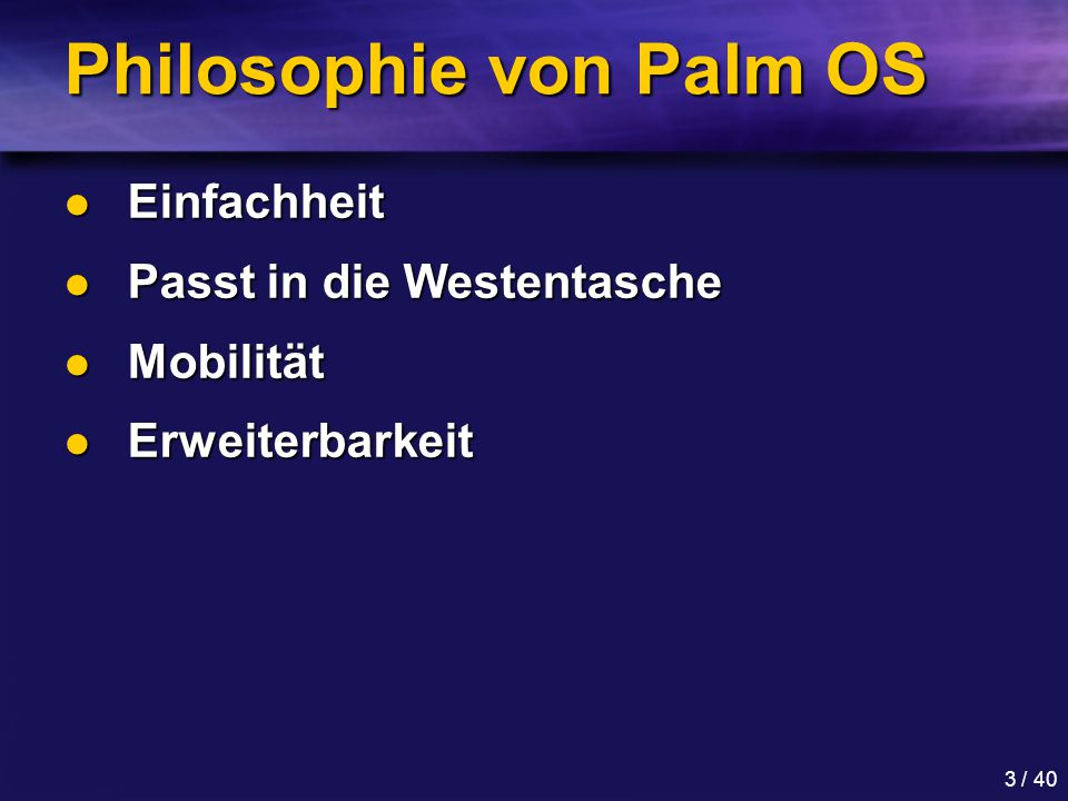 Philosophie von Palm OS