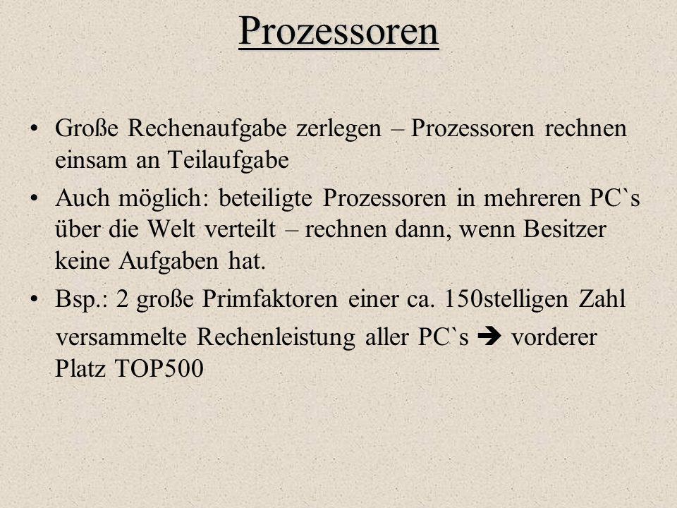 Prozessoren Große Rechenaufgabe zerlegen – Prozessoren rechnen einsam an Teilaufgabe.