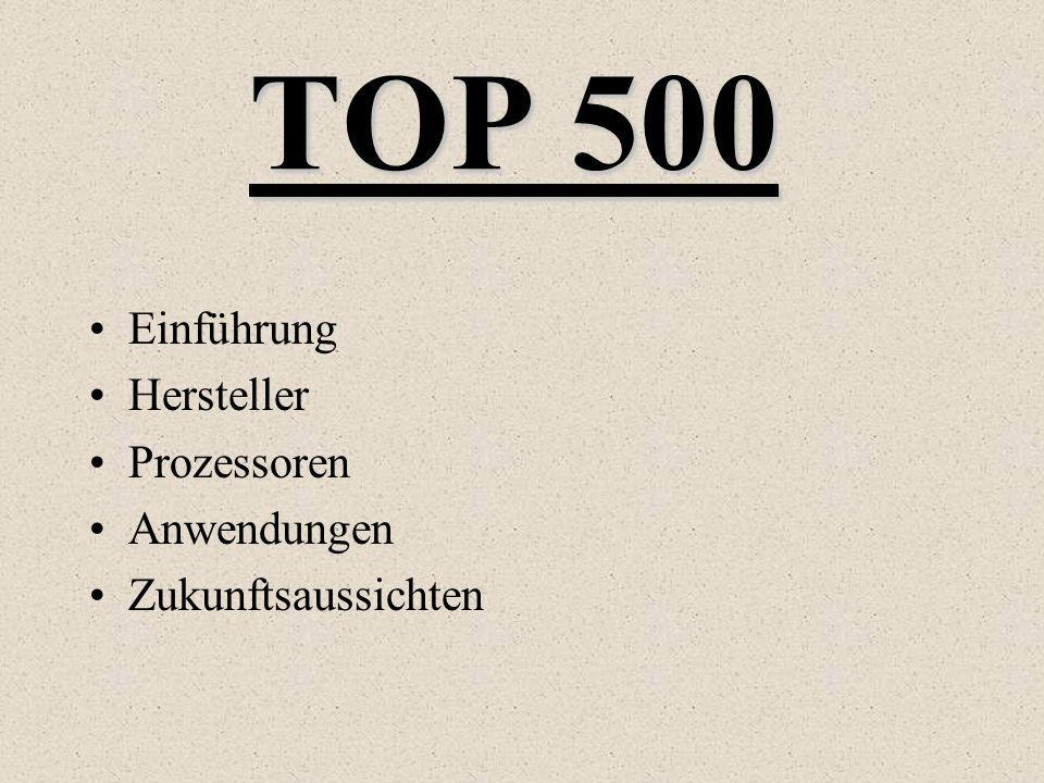 TOP 500 Einführung Hersteller Prozessoren Anwendungen