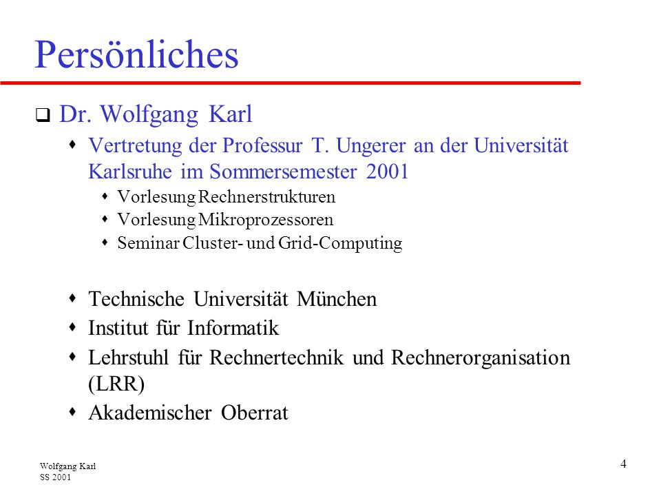 Persönliches Dr. Wolfgang Karl