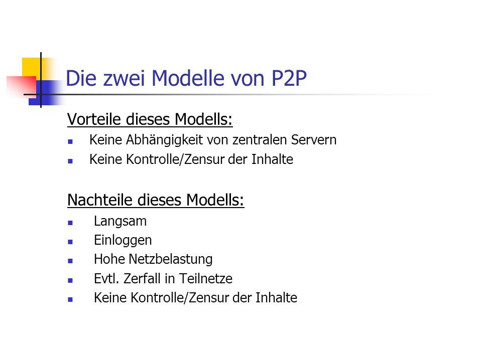 Die zwei Modelle von P2P Vorteile dieses Modells: