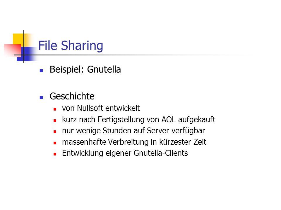 File Sharing Beispiel: Gnutella Geschichte von Nullsoft entwickelt