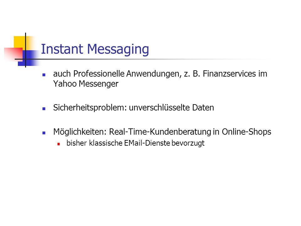 Instant Messaging auch Professionelle Anwendungen, z. B. Finanzservices im Yahoo Messenger. Sicherheitsproblem: unverschlüsselte Daten.