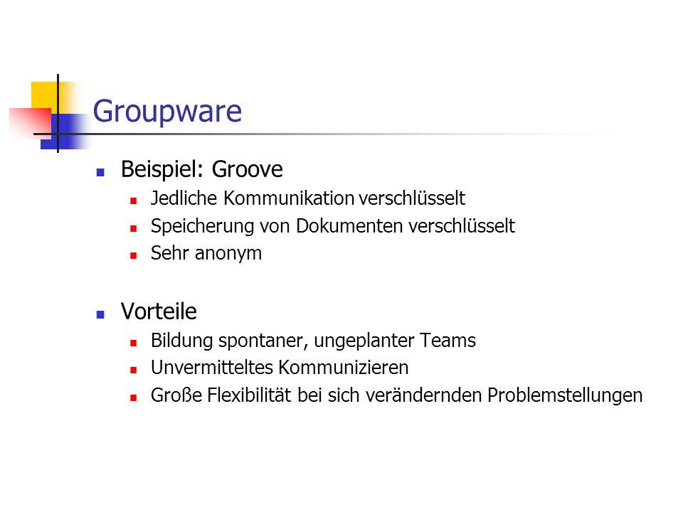 Groupware Beispiel: Groove Vorteile