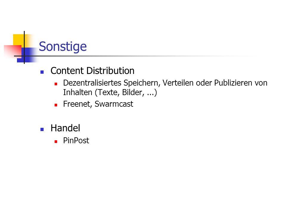 Sonstige Content Distribution Handel