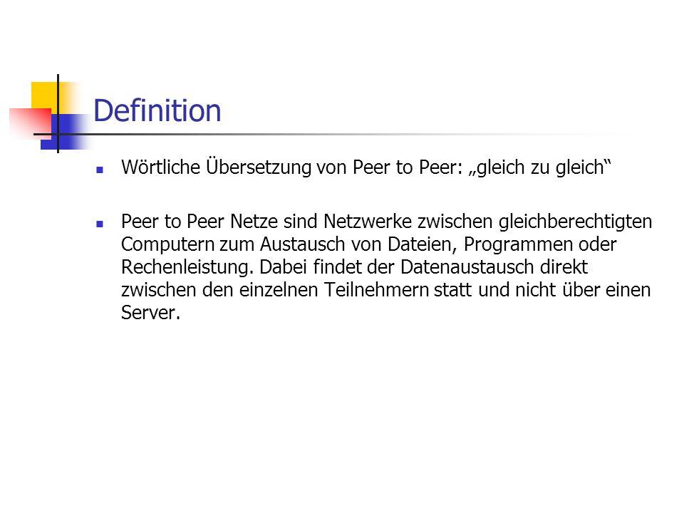 """Definition Wörtliche Übersetzung von Peer to Peer: """"gleich zu gleich"""