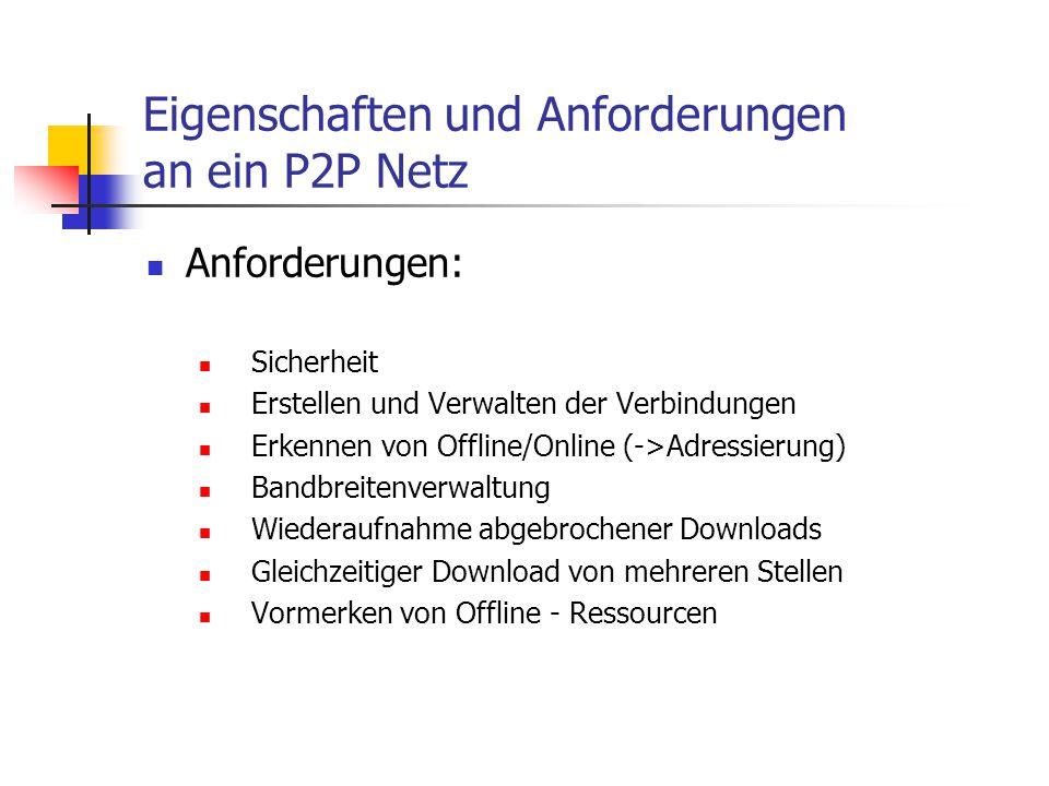 Eigenschaften und Anforderungen an ein P2P Netz