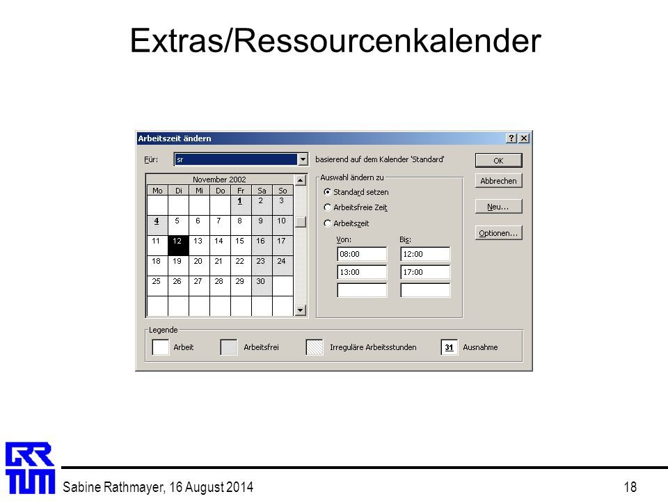Extras/Ressourcenkalender