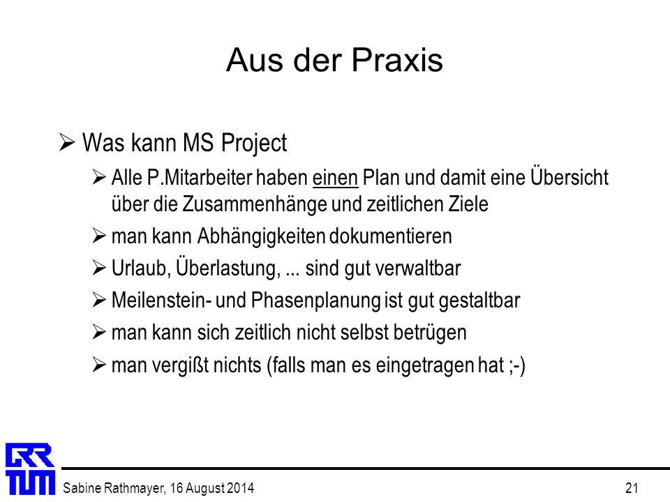 Aus der Praxis Was kann MS Project