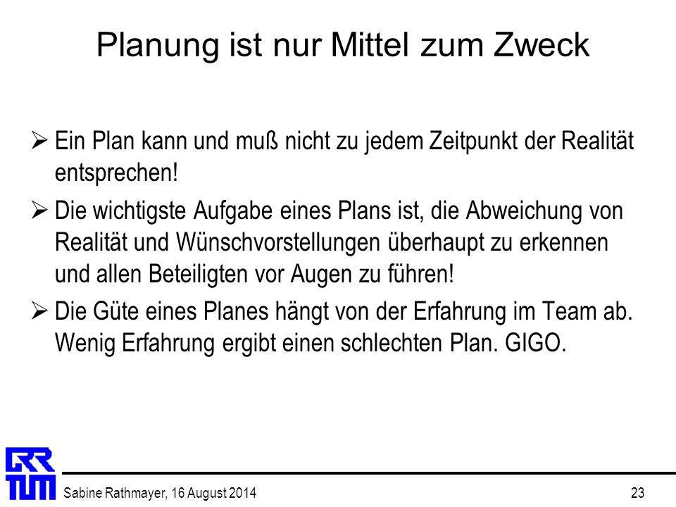 Planung ist nur Mittel zum Zweck
