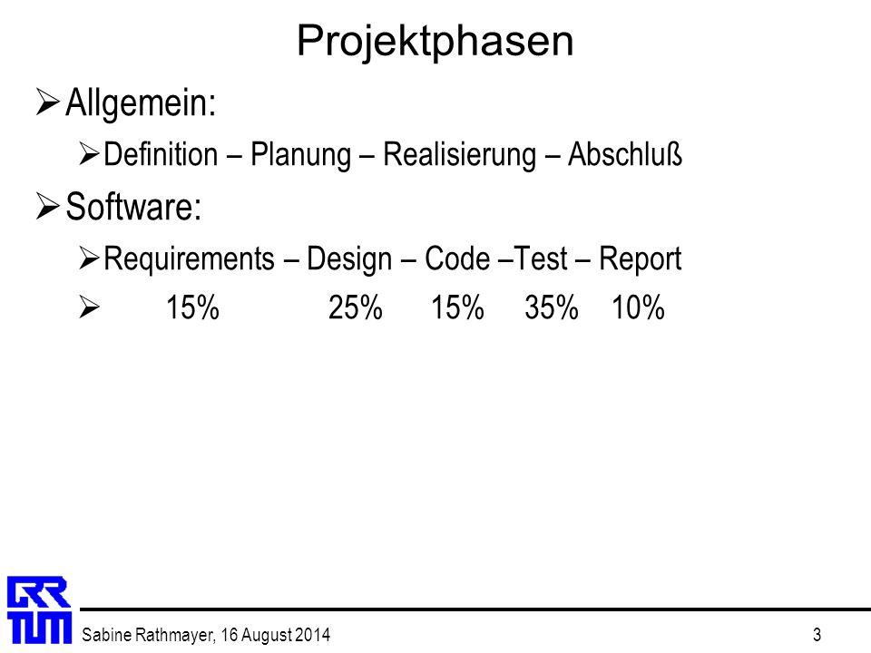 Projektphasen Allgemein: Software: