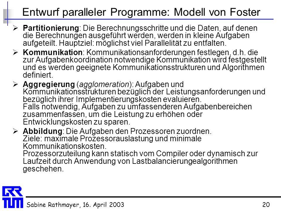 Entwurf paralleler Programme: Modell von Foster