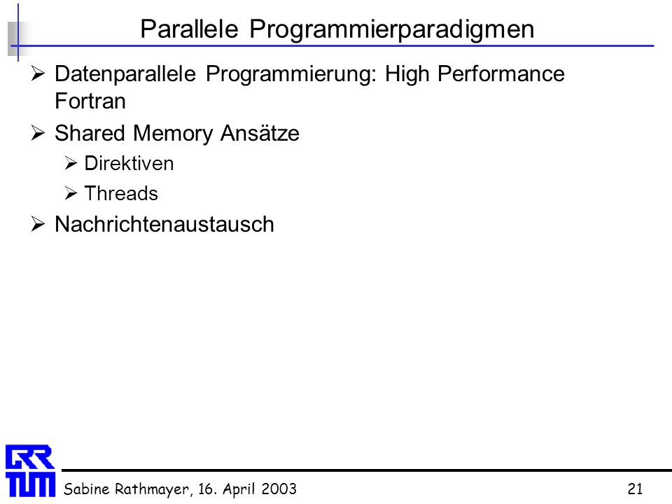 Parallele Programmierparadigmen