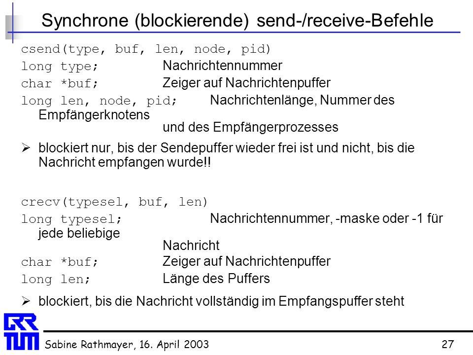 Synchrone (blockierende) send-/receive-Befehle