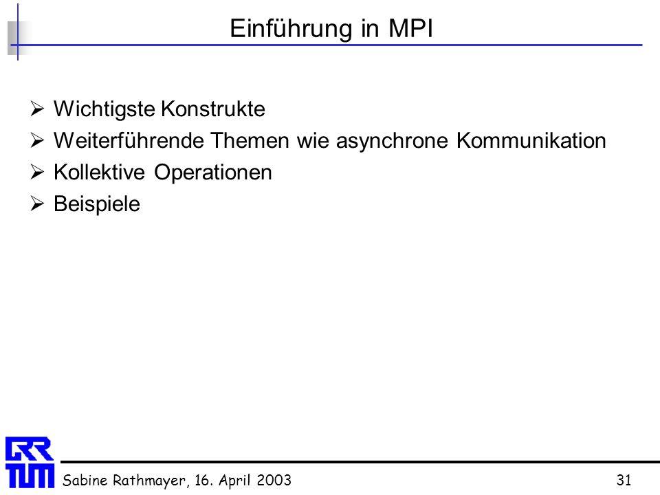 Einführung in MPI Wichtigste Konstrukte