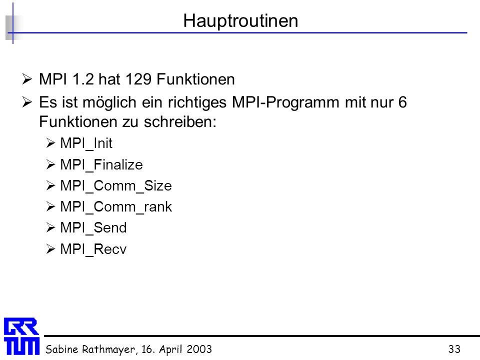 Hauptroutinen MPI 1.2 hat 129 Funktionen