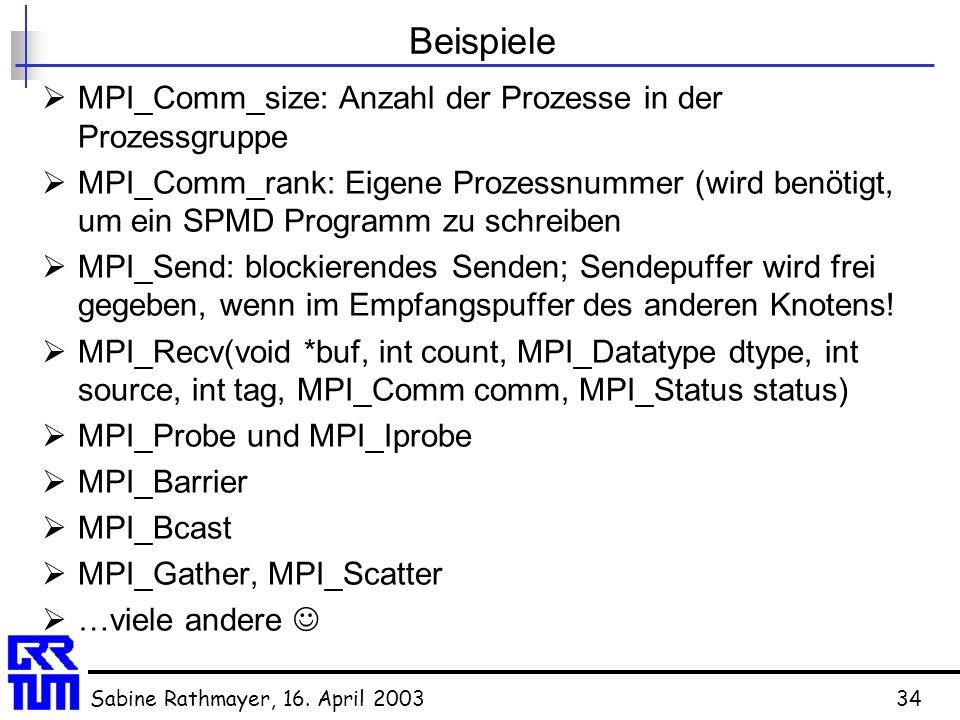 Beispiele MPI_Comm_size: Anzahl der Prozesse in der Prozessgruppe