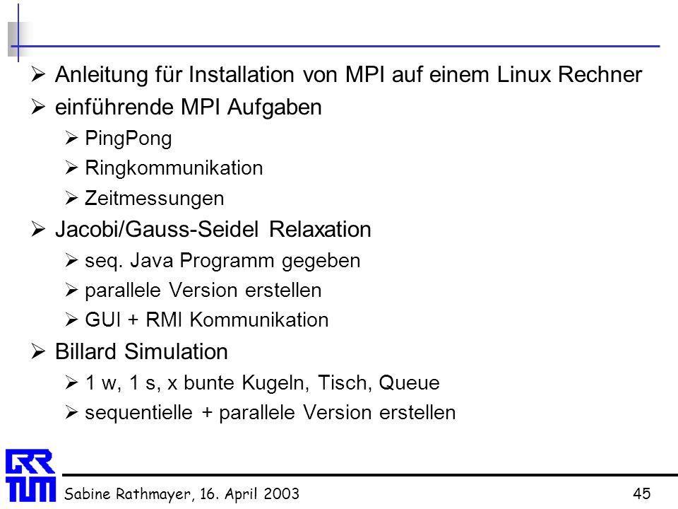 Anleitung für Installation von MPI auf einem Linux Rechner