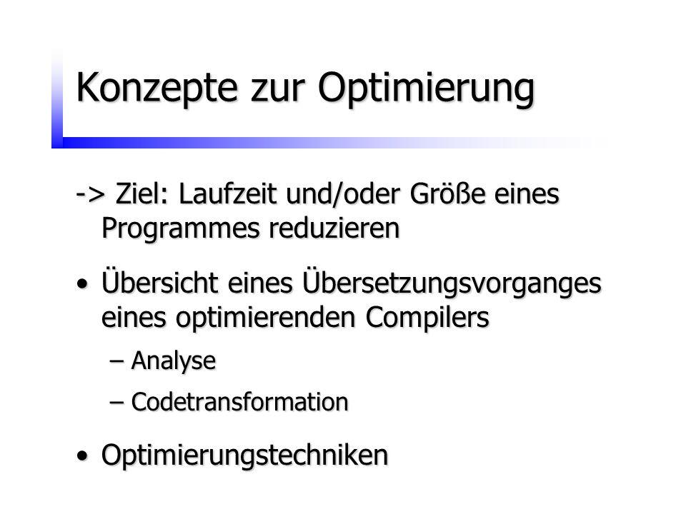 Konzepte zur Optimierung