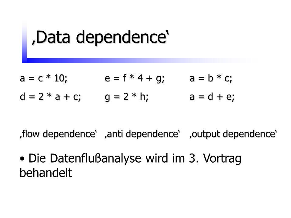 'Data dependence' Die Datenflußanalyse wird im 3. Vortrag behandelt