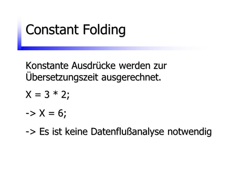 Constant Folding Konstante Ausdrücke werden zur